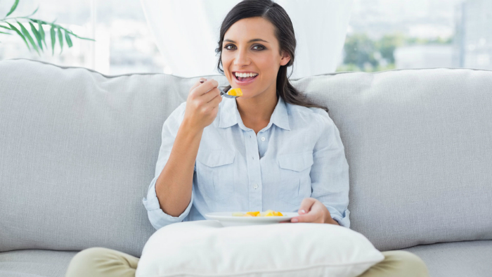Relaxed-woman-eating