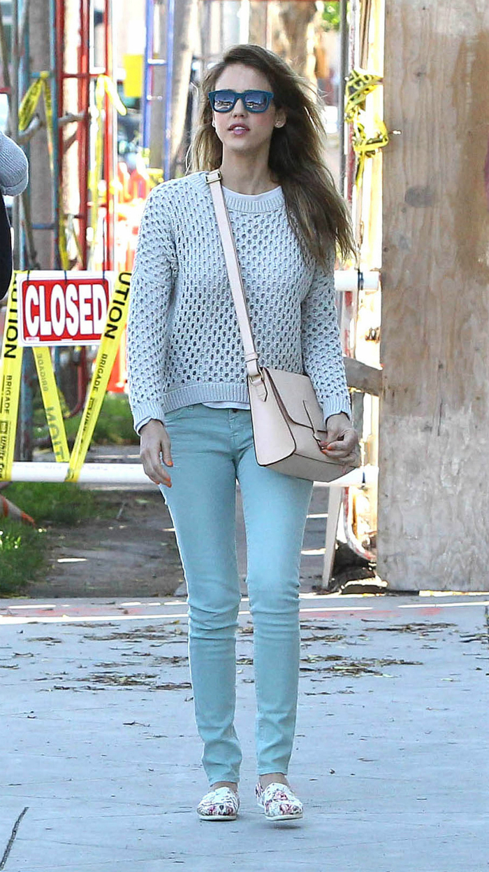Jessica-stuck-icy-blue-palette-donning-knit-Paper-Denim