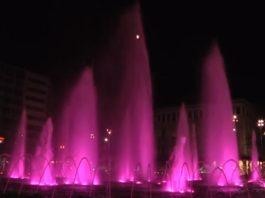 Ροζ φωταγώγηση σιντριβάνι Ομόνοιας